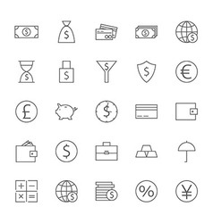 Money finance banking big icons set vector