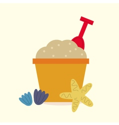 Cute beautiful sand pail isolated on yellow vector