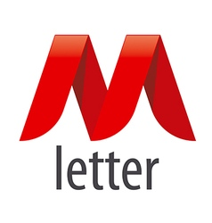 Logo red ribbon in the shape of the letter m vector