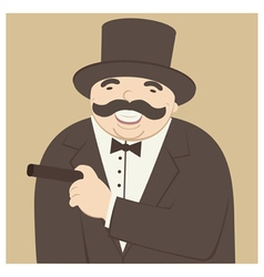 Man laughing and smoking a cigar vector