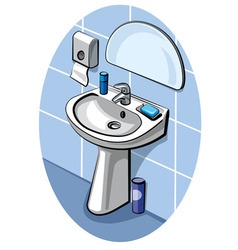 Sink and faucet in bathroom vector