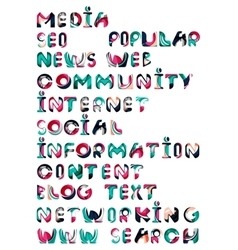 Social media in the internet - words tags vector