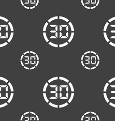 30 second stopwatch icon sign seamless pattern on vector