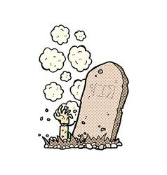 Comic cartoon zombie rising from grave vector