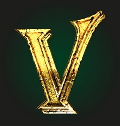 v golden letter vector image