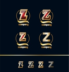 Letter z gold golden logo icon set vector