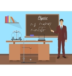 School physics male teacher in audience class vector