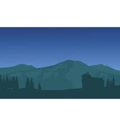 Silhouette of big mountain at night vector