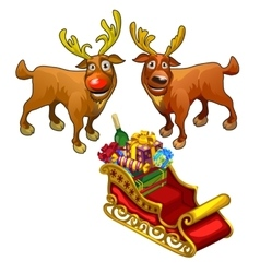 Two funny reindeer and red sleigh with gifts vector