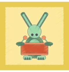 Flat shading style icon kids rabbit drummer vector