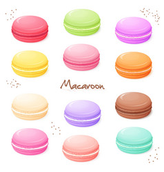 Hand drawn set of coloured sweet macaroon - vector