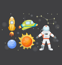 astronomy space rocket cartoon set vector image vector image
