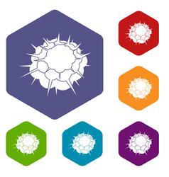 Atomic explosion icons set hexagon vector
