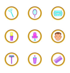 Barber shop things icons set cartoon style vector
