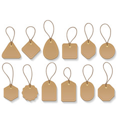 Brown paper blank clothing vintage tags vector