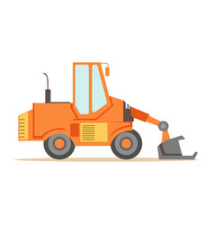 Bulldozer loader truck machine part of roadworks vector