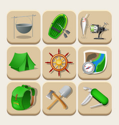 Camping color icons vector image vector image
