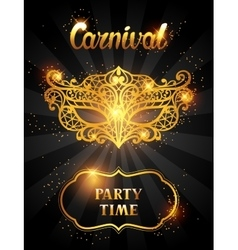 Carnival invitation card with golden lace mask vector image