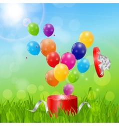 Color Glossy Balloons Birthday Card Background vector image vector image