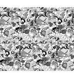 Creative doodles idea brainstorm gray scale vector image