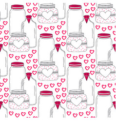 cute jars pattern valentines seamless background vector image vector image