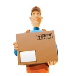 Delivery service man with box vector