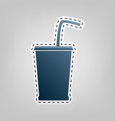 Drink sign blue icon with vector