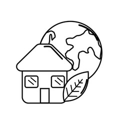 Figure house with leaf and earth planet vector