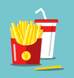 french fries with soda flat design food and drink vector image