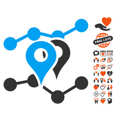 Geo trends icon with valentine bonus vector