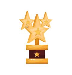 golden stars award trophy statuette cartoon vector image