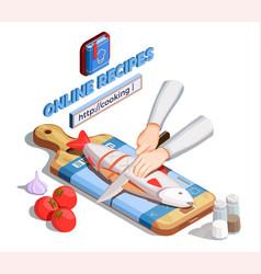 Gutting fish recipe concept vector