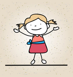 Hand drawing happy girl line art abstract people vector
