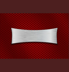 metal scratched plate on red perforated background vector image vector image