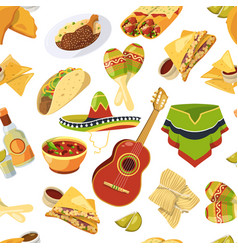 mexican food seamless pattern on white vector image vector image