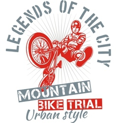 Mountain bike trial - design vector image