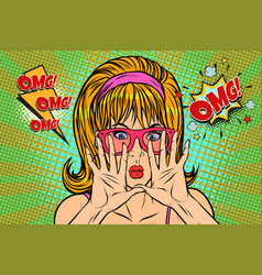 omg pop art woman hid her face vector image vector image