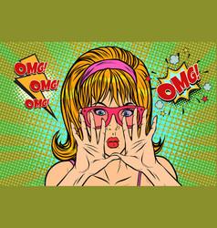 Omg pop art woman hid her face vector