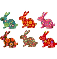 patterned bunnies vector image vector image