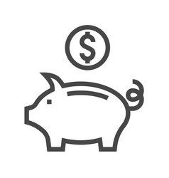 piggy bank thin line icon vector image