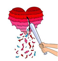 pinata heart metaphor pop art vector image