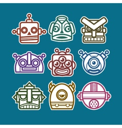Robot monster icons vector