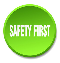 Safety first green round flat isolated push button vector