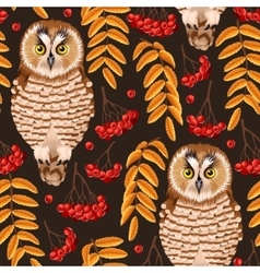 Seamless owl and rowan vector