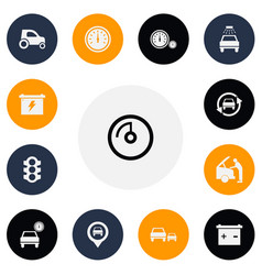 set of 13 editable car icons includes symbols vector image vector image