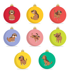 Set of christmas ball funny cartoon puppy in vector