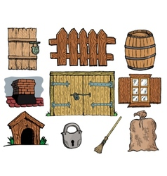 Set of different vintage objects vector image vector image