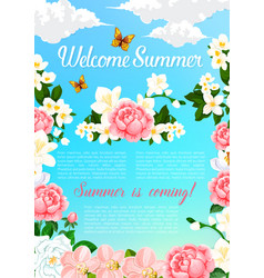 Summer greeting poster of blooming flowers vector