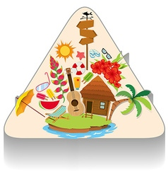 Summer theme with island and objects vector image vector image