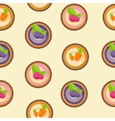 Sweet Cakes with Berry and Carrot Seamless Pattern vector image